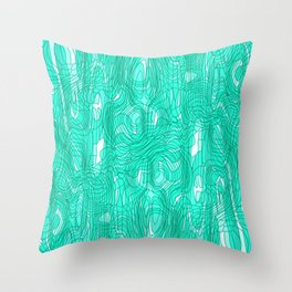 Subtle interweaving of sparkling smudges from light blue lava and light chaotic cycle. Throw Pillow
