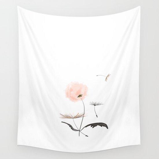 Sweet dandelions in pink - Flower watercolor illustration with glitter by betterhome