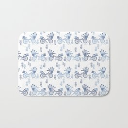 Bicycles spring cute white and navy pattern bike print by andrea lauren Bath Mat