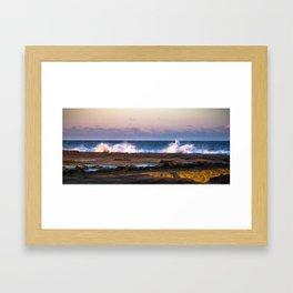 Merewether Beach, Newcastle Wave Crashing w/Sunset, Winter (Landscape) Framed Art Print