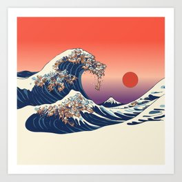 The Great Wave of Dachshunds Art Print