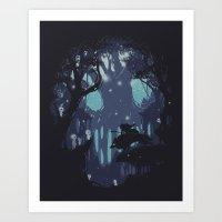 kodama Art Prints featuring kodama Spirit by Robson Borges