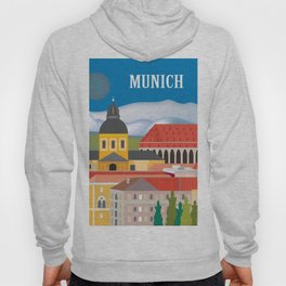 Munich, Germany - Skyline Illustration by Loose Petals Hoody