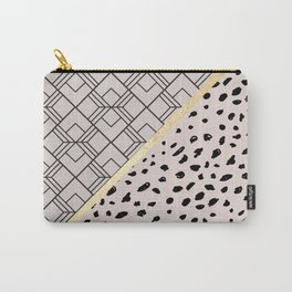 Geometrical blush pink black gold brushstrokes Carry-All Pouch
