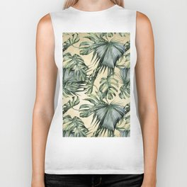 Palm Leaves Classic Linen Biker Tank
