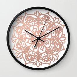 Rose Gold Mandala Redux Wall Clock