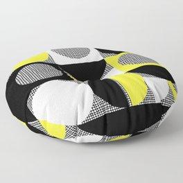 Segments and Circles Black Yellow Floor Pillow