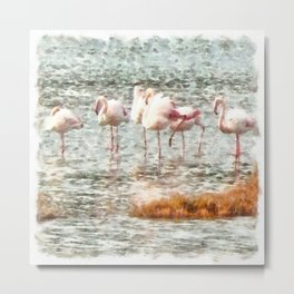Six Flamingos A Wading Watercolor Metal Print