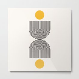 Abstraction_NEW_SUN_YELLOW_BLACK_LINE_POP_ART_1121A Metal Print