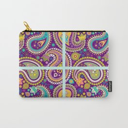 Checkered background with paisley pattern Carry-All Pouch