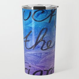 Fuck the Patriarchy in blue and purple gradient Travel Mug