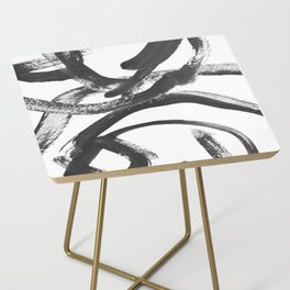 Interlock black and white paint swirls Side Table