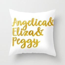 Schuyler Sisters gold script Throw Pillow