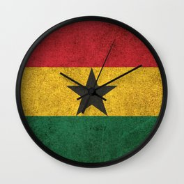 Old and Worn Distressed Vintage Flag of Ghana Wall Clock