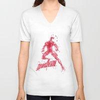 daredevil V-neck T-shirts featuring Daredevil Superhero by Carma Zoe