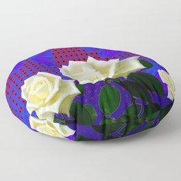 ROSES BLUE BUTTERFLIES RED OPTIC ART Floor Pillow