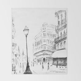 Sketch of a Street in Paris Throw Blanket