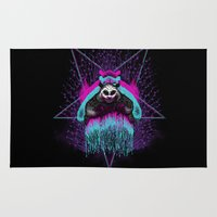 three of the possessed Area & Throw Rugs featuring Possessed Panda by Pigboom Art