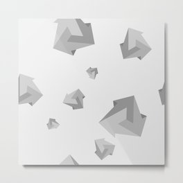 Black and white geometric simple minimalistic pattern of impossible shapes Metal Print