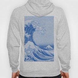 Cerulean Blue Porcelain Glaze Japanese Great Wave Hoody