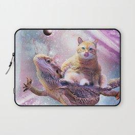 Space Cat Riding Bearded Dragon Lizard Laptop Sleeve