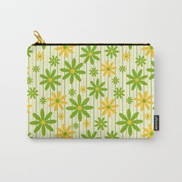 Bohemian Retro 70s Groovy Daisy Pattern with Stripes , Hand-painted in Grass Green, Golden and Ivory Carry-All Pouch