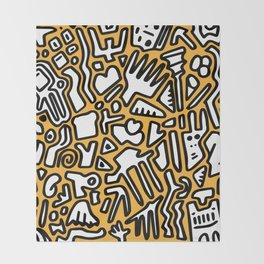 black doodle on orange Throw Blanket