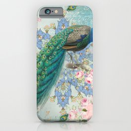 Peacock & Pink Roses #2 iPhone Case