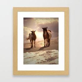 Beached Ponies - Ponies and Clouds Framed Art Print