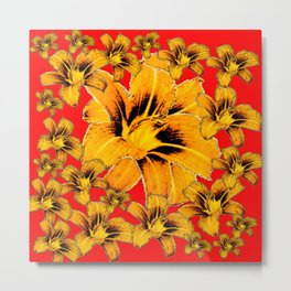 ABSTRACT DAYLILY FLOWERS RED ART Metal Print