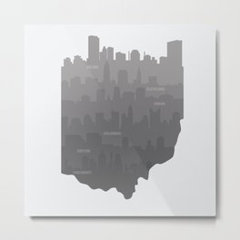 Ohio Skylines: Gray Variant Metal Print