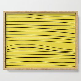 Yellow Handmade Lines Serving Tray