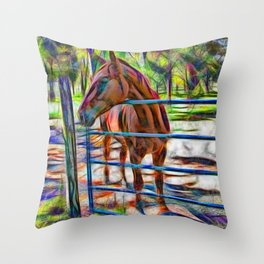 Abstract horse standing at gate Throw Pillow