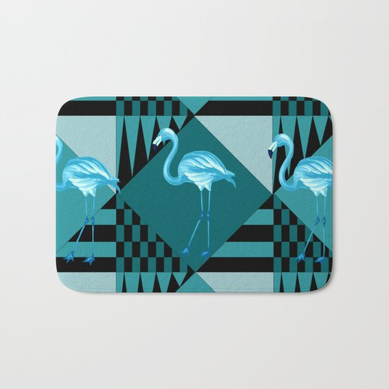 flamingo in blue Bath Mat