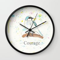 courage Wall Clocks featuring Courage by Tammy Kushnir