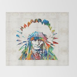 Native American Art - Chief - By Sharon Cummings Throw Blanket