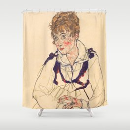"Egon Schiele ""Bildnis Edith Schiele (Portrait of Edith Schiele)"" Shower Curtain"