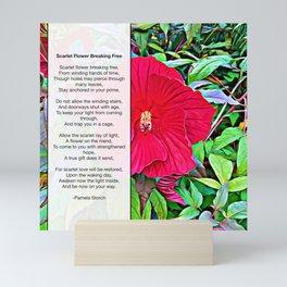 Scarlet Flower Breaking Free Poem Mini Art Print