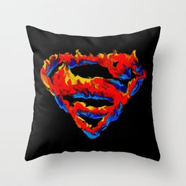 Superman in Flames Throw Pillow