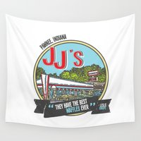 indiana Wall Tapestries featuring jj's diner, pawnee, indiana by studiomarshallarts