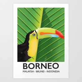 Borneo Toucan travel poster Art Print