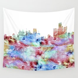 Detroit City Skyline Michigan Wall Tapestry