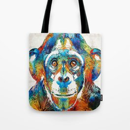 Colorful Chimp Art - Monkey Business - By Sharon Cummings Tote Bag