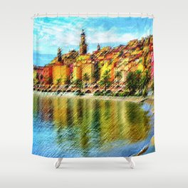 Cote d'azur, Menton France at Morning Landscape Painting by Jeanpaul Ferro Shower Curtain