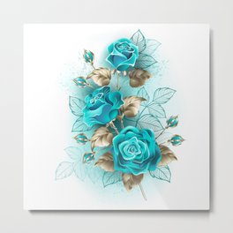 Bouquet of Turquoise Roses Metal Print