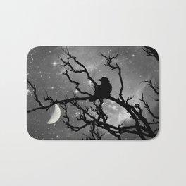 Black Bird Silhouette on Starry Night A492BW Bath Mat
