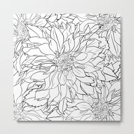 Black and White Dahlia Flower Metal Print