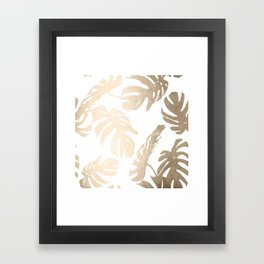 Simply Tropical Palm Leaves in White Gold Sands Framed Art Print