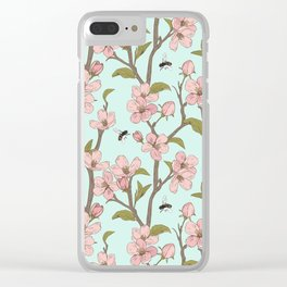 Lovely Cherry Blossom And Honey Bee Springtime Pattern Clear iPhone Case
