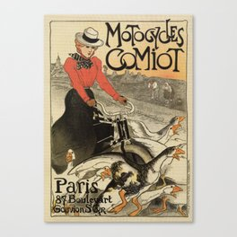 1899 vintage French motorcycle ad by Steinlen Canvas Print